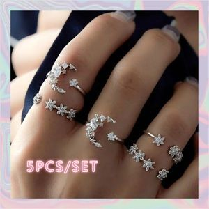 Jewelry - .925 Sterling Silver 5 Piece Boho Ring Set